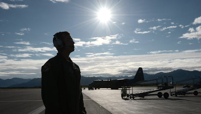 U.S. Air Force Senior Airman Jeremy Jutba-Hake, 36th Airlift Squadron loadmaster, is shown in this Aug. 11, 2015, Department of Defense photo participating in an exercise at Joint Base Elmendorf-Richardson, Alaska.