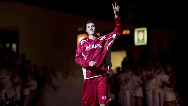 Indiana's Ryan Burton is introduced during Hoosier Hysteria, Oct. 25, 2014, at Assembly Hall.