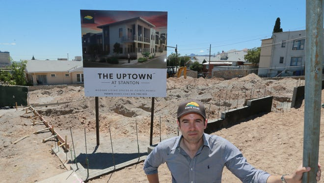 Homebuilder Carlos Villalobos at the site of the 14-unit, upscale apartment building his company, Pointe Homes, is building at Stanton and Crosby in West Central El Paso, not far from Downtown and the UTEP campus. apartments Monday.