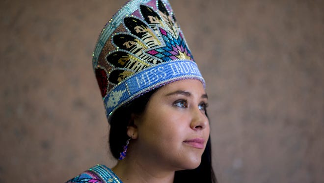 Miss Indian World Danielle Ta'Sheena Finn poses May 9, 2016, at Arizona State University in Tempe.