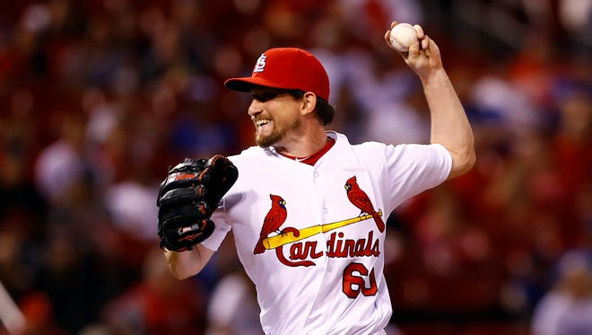 St. Louis Cardinals relief pitcher Dean Kiekhefer throws during a game against the Chicago Cubs on May 24 in St. Louis.