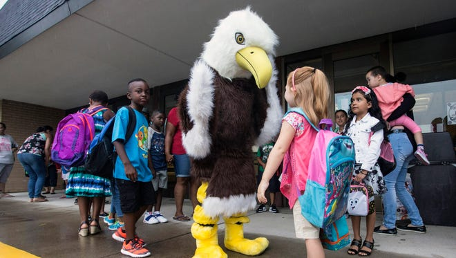 Returning Northaven Elementary students were greeted by school mascot Eddie the Eagle on Thursday morning as the Clark County year began. 6/28/16