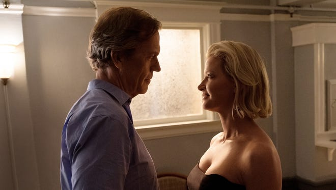 Hugh Laurie, left, plays Eldon Chance and Gretchen Mol plays Jaclyn Blackson in Hulu's 'Chance.'