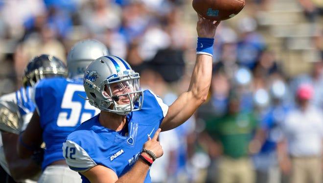 Blue Raider quarterback Brent Stockstill (12) already has 11 touchdowns through three games.