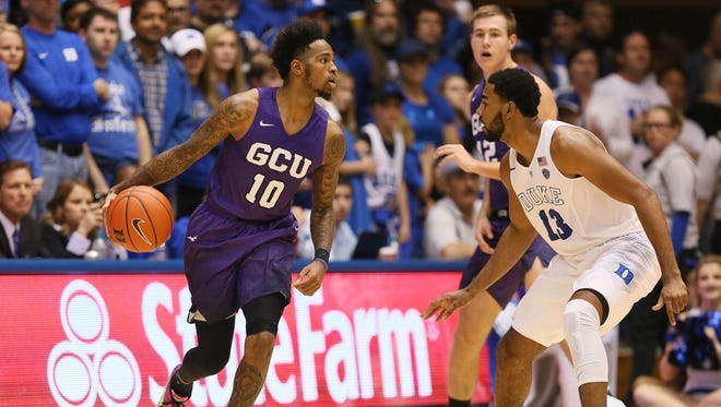 Nov 12, 2016: Grand Canyon Lopes guard Shaq Carr (10) moves the ball against Duke Blue Devils guard Matt Jones (13) in the second half of their game at Cameron Indoor Stadium.