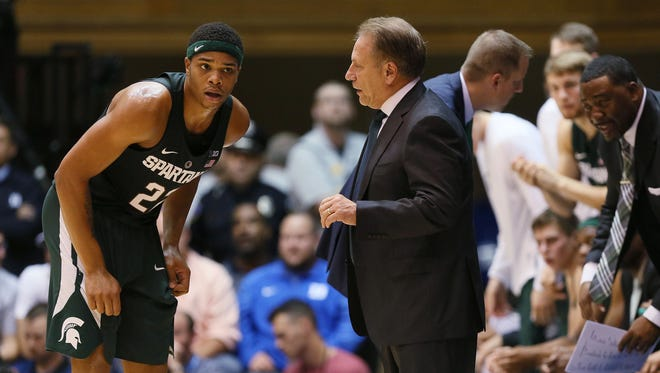 Michigan State coach Tom Izzo talks to Miles Bridges during the first half of their 78-69 loss at Duke on Nov. 29, 2016 in Durham, N.C.