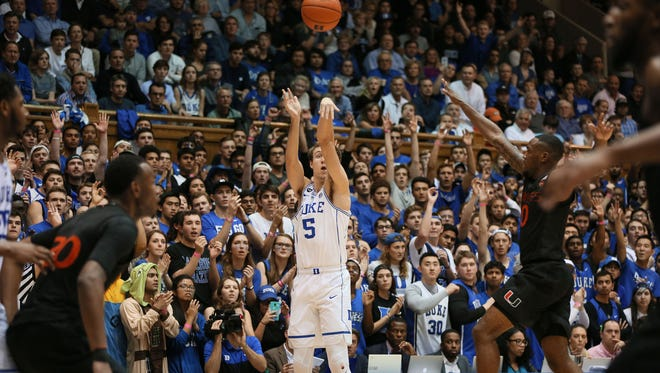 Duke Blue Devils guard Luke Kennard (5) shoots a 3-pointer in the second half of their game against the Miami Hurricanes at Cameron Indoor Stadium on Jan. 21.