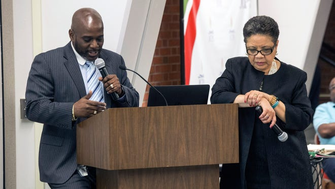 JCPS Chief Equity Officer Dr. John Marshall, along with Roszalyn Akins, addressed the School Board on Tuesday about the formation of a Males of Color Academy in Louisville. 6/13/17