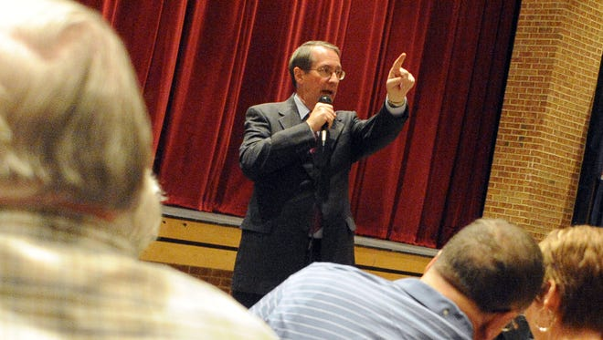 U.S. Rep. Bob Goodlatte, R-6th, responds to public comments during a town hall meeting on health care held at Turner Ashby High School in Bridgewater on Saturday, Sept. 5, 2009.