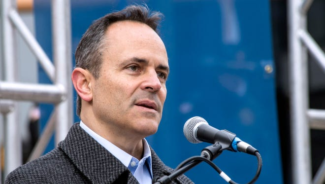Kentucky Gov. Matt Bevin spoke to the crowd at the Veterans Day Parade on Saturday. 11/11/17