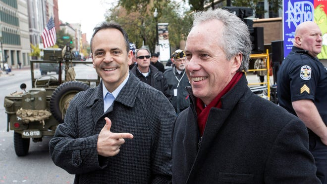 Kentucky Gov. Matt Bevin and Louisville Mayor Greg Fischer watched the Veterans Day Parade together on Saturday. 11/11/17