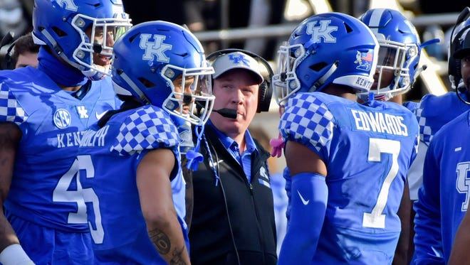 Kentucky Wildcats head coach Mark Stoops looks on from the sidelines during the first half against the Vanderbilt Commodores at Vanderbilt Stadium in Nashville, Tennessee, on Saturday, Nov. 11, 2017.