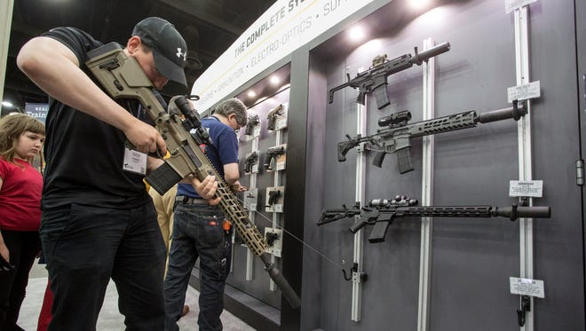Those in attendance to the Concealed Carry Expo were able to handle some of the products on display in booths managed by firearms manufacturers. 4/14/18