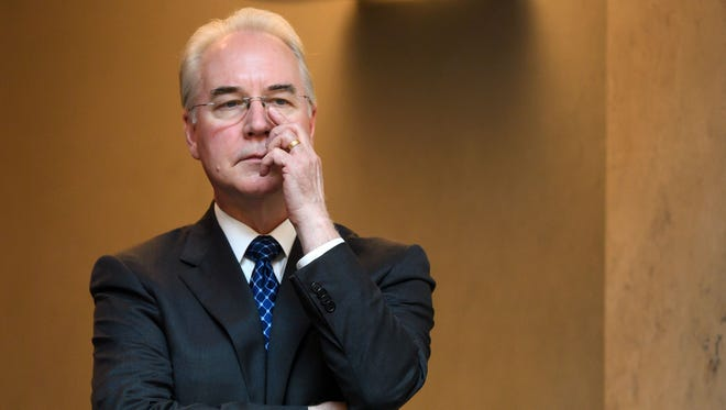 This file photo taken on May 22, 2017 shows then Health Secretary Tom Price after delivering his speech on the opening day of the World Health Assembly's (WHA) annual meeting in Geneva.