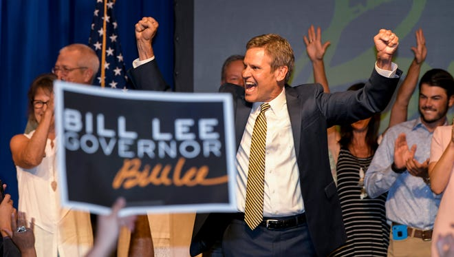 Bill Lee celebrates with supporters at his watch party Thursday, Aug. 2, 2018, at the Factory at Franklin. Lee secured the GOP nomination for governor.