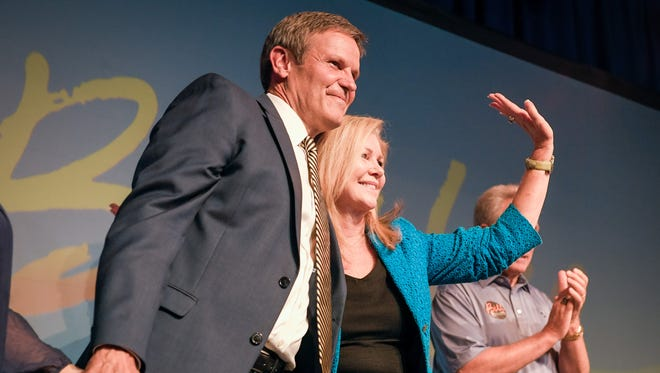 Republican Tennessee Governor candidate Bill Lee and U.S. Rep. and Republican U.S. Senate candidate Marsha Blackburn celebrate at his primary election night party at the Factory in Franklin, Tenn. on August 2, 2018.
