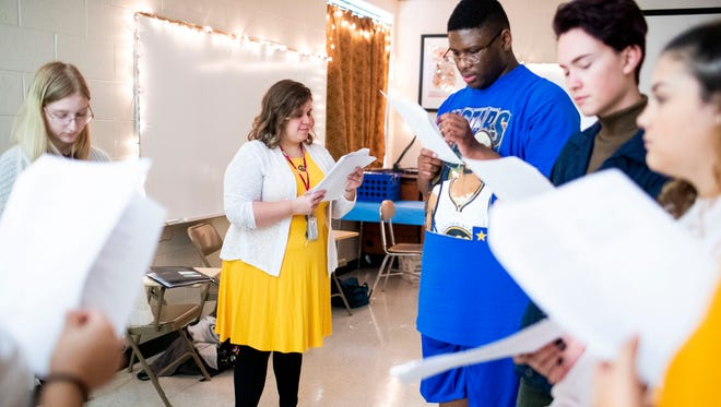 """Alicia Archuleta leads her theatre class in a reading of Romeo and Juliet at Kenwood High School Friday, Aug. 10, 2018, in Clarksville, Tenn. Archuleta was voted """"Favorite School Teacher"""" by the community in the 2018 The Leaf-Chronicle Readers Choice Awards."""