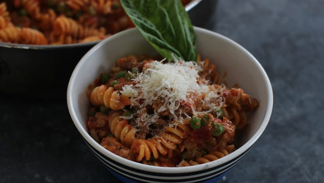 Fusilli with Italian sausage, peas and creamy tomato sauce in Concord, N.H. on Jan. 26, 2015.