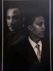 """Medlock's portrait of Dr. Martin Luther King Jr. and President Barack Obama. Of his new life, Medlock says, """"It's amazing what God can do."""""""