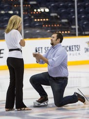 Elliott Chenger proposes to his now-wife Christi in