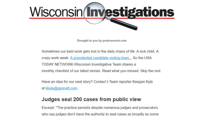 Wisconsin Investigations newsletter sample