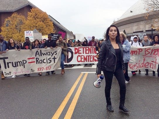Joseline Tlacomulco leads several hundred people in