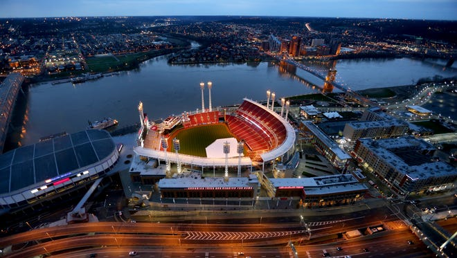 The Enquirer/Liz Dufour Great American Ball Park in downtown Cincinnati before Opening Day 2015. Monday, April 6, 2015 It's Opening Day for the Cincinnati Reds. They open the season against the Pittsburg Pirates The Great American Ballpark in downtown Cincinnati. The photo is shot from the Great American Tower at Queen City Square.  The Enquirer/ Liz Dufour