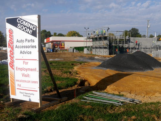 An AutoZone is under constructions next to an Advance Auto Parts store on U.S. 340 in Stuarts Draft on Oct. 21, 2016.