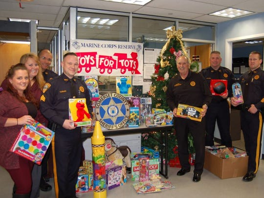 The annual Toys for Tots collection hosted by the Somerset County Sheriff's Office was a big success this year, with hundreds of toys collected. From left: Heather Armstrong, Susan Katyan, Lt. Steve SanAntonio, Sgt. Tom Carlucci, Sheriff Frank J. Provenzano, Lt. Alan Santoro and Sgt. Bob Peschel.