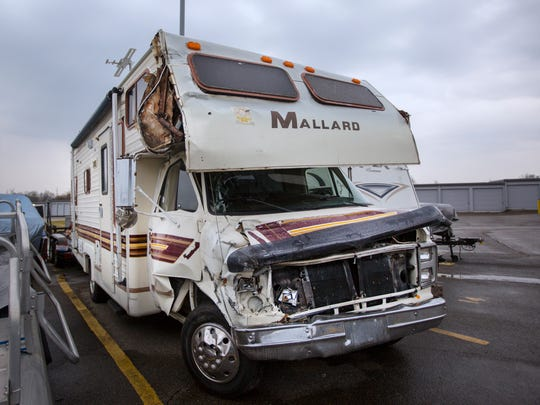 The 1987 Mallard motorhome at a storage facility in Batavia. The vehicle is owned by Steve Duffey. On Jan. 20, 2017, Duffey was driving along Beechmont Ave and was hit by a Metro bus driven by Tracey Covington. Scott Doyle was in the passenger seat. Both sustained injuries. The bus driver was cited for driving on a suspended license, failure to reinstate the license and failure to yield a left turn. Duffey purchased the motorhome last April.