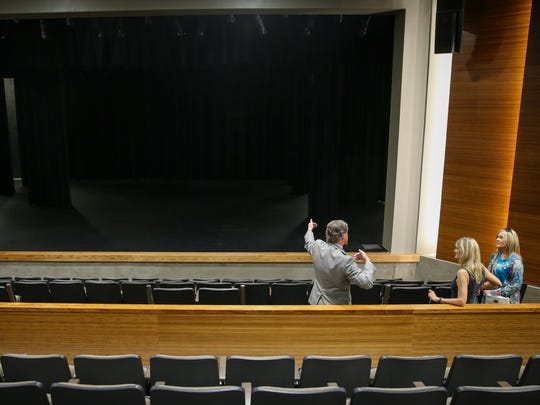Andrew Graves tours the theater with Elaine Stribling, center, and Patsy Cleere Thursday, Sept. 8 at the San Angelo Performing Arts Center located at 82 Gillis St.