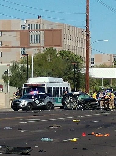 A police chase that crisscrossed Valley freeways ended in a violent, head-on crash Wednesday morning in Tempe. Troopers with the Arizona Department of Public Safety took someone into custody following the crash on Rural Road just south of Apache Boulevard near the Arizona State University Tempe campus.