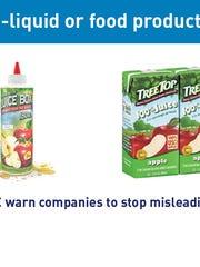 Juice boxes vs. e-cig liquid packaging.
