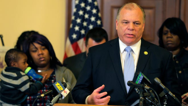 Senate President Steve Sweeney speaks during a press conference about a bill passed by the Legislature that would set aside $10 million for the Lead Hazard Control Assistance Fund at the State House in Trenton, NJ Tuesday March 22, 2016.