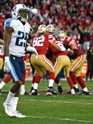 Titans cornerback Adoree' Jackson (25) walks off the field as the 49ers celebrate their game winning field goal as the Titans lose 25 to 23 at Levi's Stadium Sunday, Dec. 17, 2017 in Santa Clara, Calif.