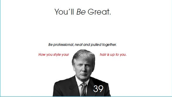 Donald Trump is held up as an example for employees on a page in a Macy's customer service manual. Macy's has since pulled the manual from the site and says it was produced in 2009 -- before the Republican frontrunner declared his candidacy for president.