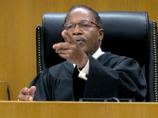 State Superior Court Judge Wendel E. Daniels conducts