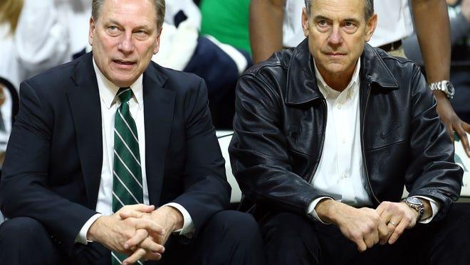 Michigan State coaches Tom Izzo and Mark Dantonio