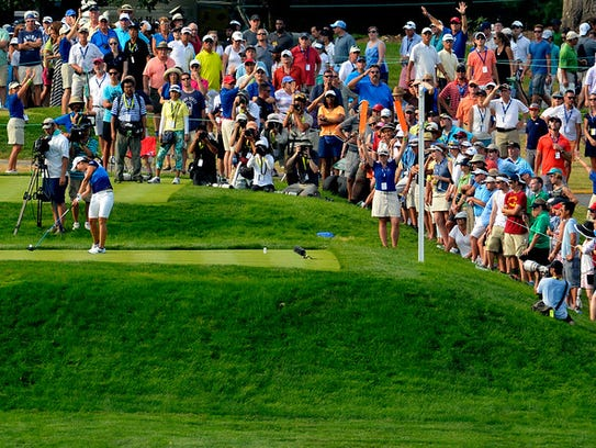 Fans lined the golf course during the 2015 U.S. Women's