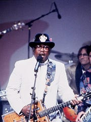 Bo Diddley in concert with Max Weinberg on drums. The