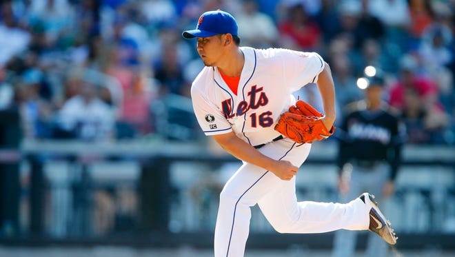 Daisuke Matsuzaka #16 of the New York Mets pitches in the fourth inning against the Miami Marlins at Citi Field on July 12, 2014 in the Flushing neighborhood of the Queens borough of New York City.