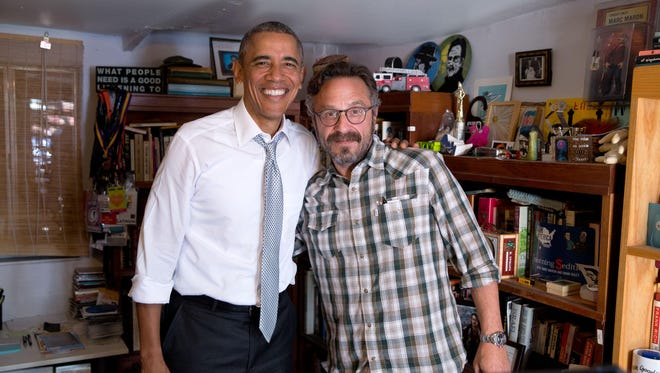 """President Barack Obama talked to comedian Marc Maron on his """"WTF With Marc Maron"""" podcast in Los Angeles, California."""