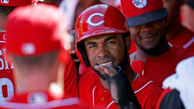 Arismendy Alcantara hit to center drove in two runs as the Reds beat the Brewers on Friday.