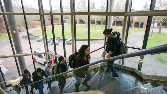 Chemeketa Community College students walk to classes on Wednesday, Feb. 22, 2017. The college's Board of Education met on Wednesday evening to vote on the 2017-2018 tuition proposal. If approved, it will be the first tuition raise in five years.