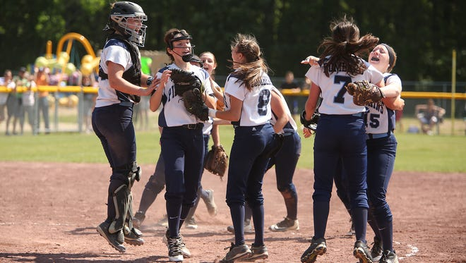 Pine Plains players celebrate their semifinal win over Greenville on Saturday in South Glens Falls.