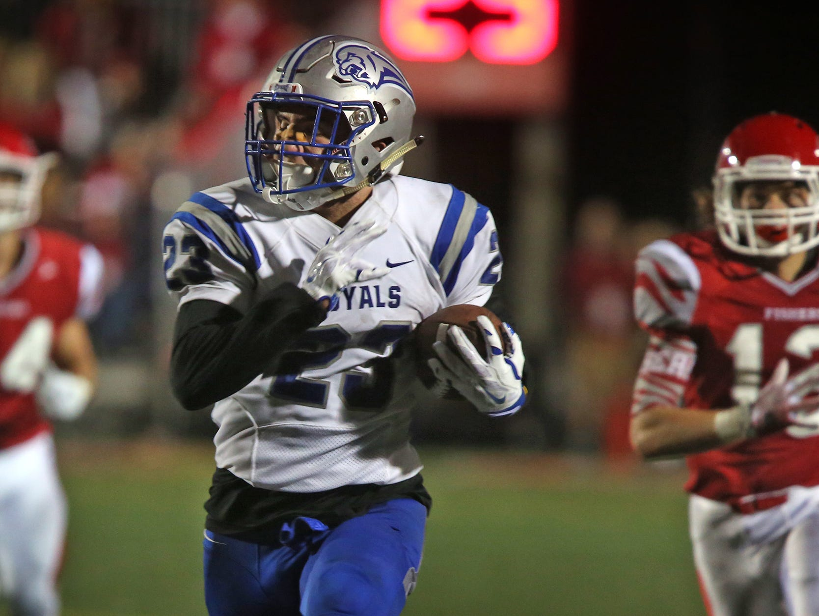 Hamilton Southeastern #23 Aaron Matio heads for the end zone during fourth quarter action of the Hamilton Southeastern at Fishers football game, Friday, September 11, 2015. Hamilton Southeastern won the game 39-33.