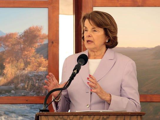 Sen. Dianne Feinstein speaks at a Whitewater Preserve