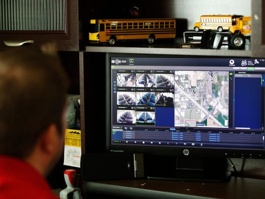 Shaun Adams, systems specialist with Alpine School District, looks over archive footage from a school bus in American Fork on Friday, March 17, 2017. Alpine School District has added monitors and cameras on its buses to create a safe bus culture to help with bullying.