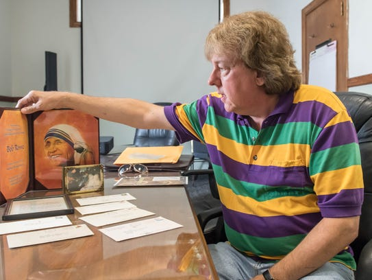 Bob Rowe shows some of his correspondence and memorabilia