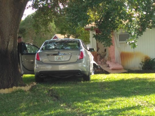 The scene of the crash and shooting in Titusville.